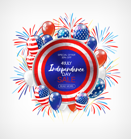 Independence Day sale banner with golden stars and flag.