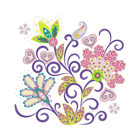 Vector ornate ornament with Fantastic flowers. Embroidery colorful trend floral pattern. Trendy colors 2018 Vector Illustratie