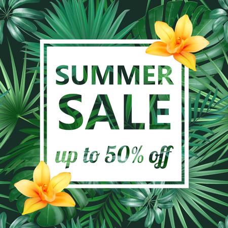 Concepto de venta de verano. Fondo de verano con flores tropicales y hojas. Vector de plantilla. Ilustración de vector