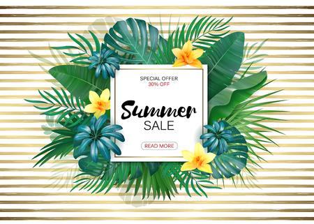Sale. Square summer sale tropical leaves frame on gold striped backdrop. Tropical flowers, leaves and plants background Ilustração