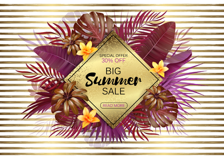 Summer sale background with exotic leaves and flowers. Vector background for banner, poster, flyer, card, postcard, cover, brochure. Trendy colors of summer 2018