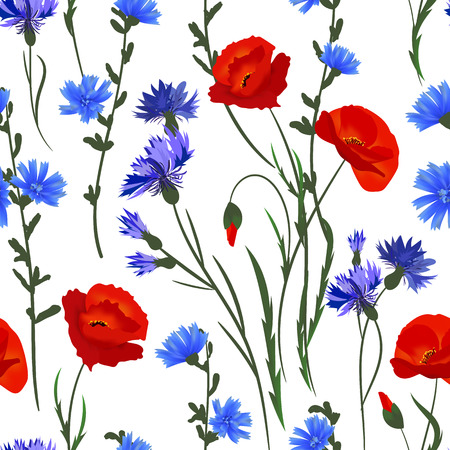 Seamless background with wildflowers. Blue red green on white pattern. Vector watercolor imitation Vektorové ilustrace