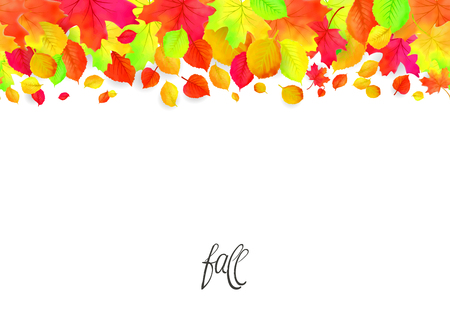 Seamless border pattern of falling autumn leaves. Vector