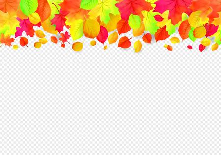 Seamless border pattern of falling autumn leaves. Vector 일러스트