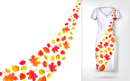 Autumn leaves falling and spinning in wind on dress mock up. Vector illustration.