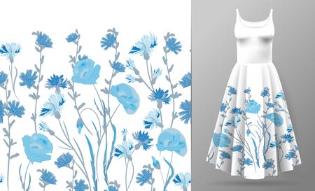 nahtlose Felge. Grenze mit Kräutern und wilden Blumen, Blättern. Botanische Illustration Bunte Illustration auf Kleid Modell.