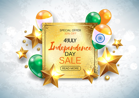 Vector illustration of Independence Day of India sale banner with Indian flag tricolor Vetores