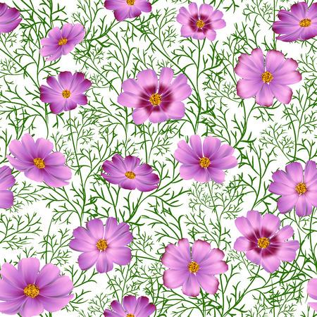 Nahtloser Blumenhintergrund mit schönen rosa wilden Blumen