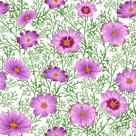 Seamless floral background with beautiful pink wild flowers
