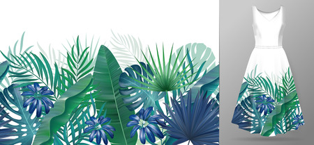 Hand drawn realistic branches and leaves of tropical plants. Vivid line horizontal leaves pattern. Green blue seamless border on dress mockup.