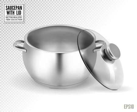 Steel saucepan with glass lid on a transparent background. Vector illustration template ready for your design. EPS10.