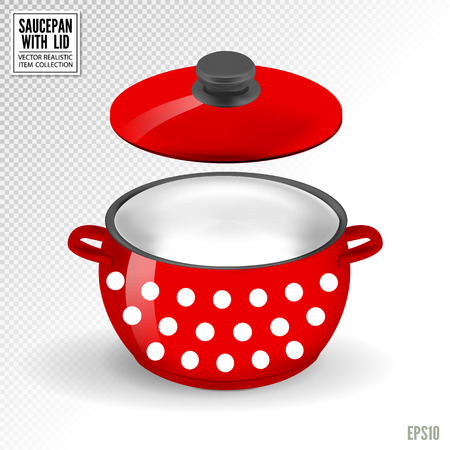Enameled red saucepan with lid. Realistic vector on transparent background, 3d illustration