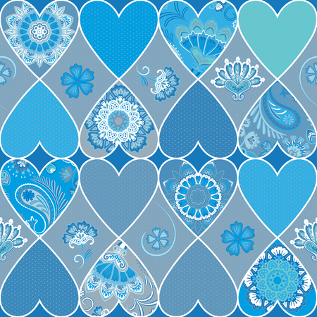 Seamless floral patchwork pattern with hearts and mandalas background. Vector. Blue pattern
