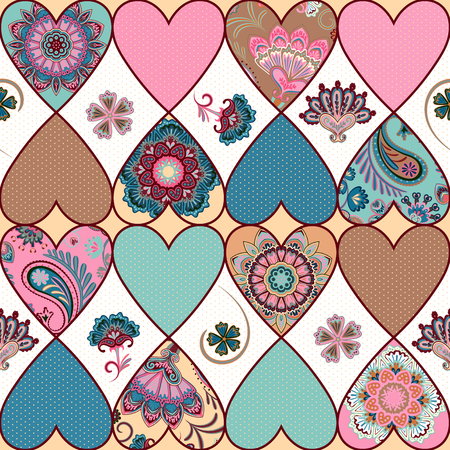 Seamless floral patchwork pattern with hearts and mandalas background. Pastel colors, vector