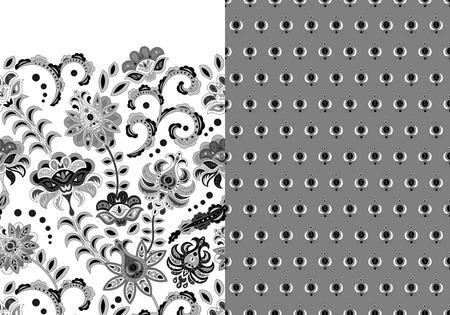Ensemble de deux motifs floraux sans soudure horizontaux avec bordure de fleurs paisley et fantaisie. Texture dessinée à la main pour les vêtements, les draps, le tissu de la robe, etc. Noir et blanc Vecteurs