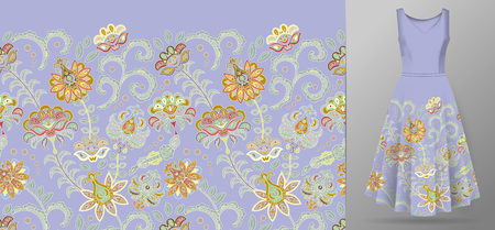 Vertical seamless fashion background. Womens long dress mock up with bright seamless hand drawn pattern for textile, paper print. Isolated lilac dress with orange pattern. vector Stock Illustratie
