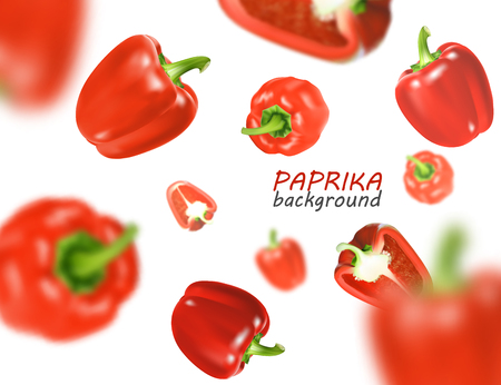 Isolated flying vegetables. Falling sweet red paprika isolated on white background. Realistic vector, 3d illustration Stock Illustratie