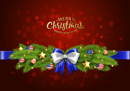 Christmas partiotic illustration. Vector border of Christmas tree branches with golden stars and balls with american flag. Merry christmas and happy new year Иллюстрация
