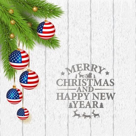 Vector abstract Christmas background with patriotic elements and lettering Merry Cristmas and Happy New Year Standard-Bild - 126833369