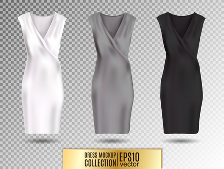 Women's dress mockup collection. Dress with long pleated skirt. Realistic vector illustration. Fully editable handmade mesh. Festive dress without sleeves. White, gray and black variation Standard-Bild - 126833370
