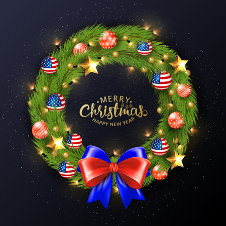 Merry Christmas 2019 poster. Christmas wreath with balls painted in the American flag. Bright and festive illustration. Standard-Bild - 126833371