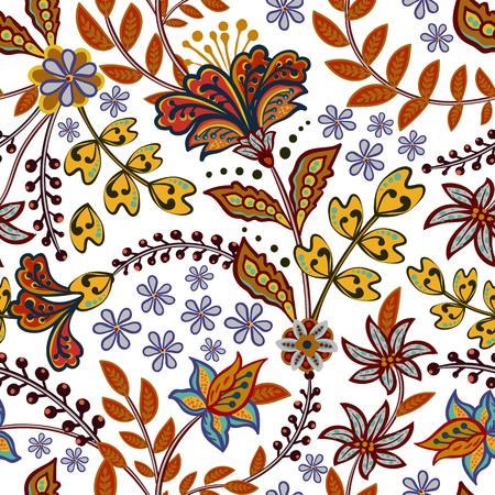 Abstract flowers seamless pattern, floral vector background. Fantasy multicolored flowers in hot eastern tones on a white backdrop. For the design of the fabric, wallpaper, wrapper, prints, decoration Иллюстрация