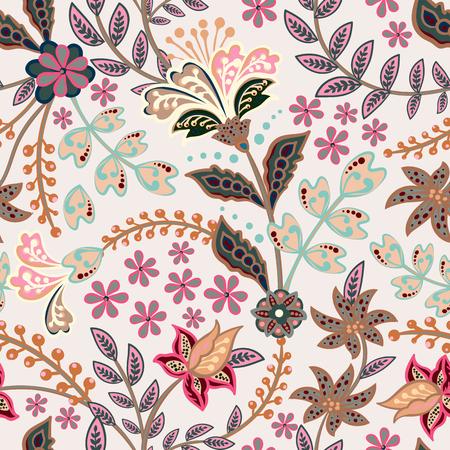 Flores abstractas de patrones sin fisuras, fondo floral vector. Flores de fantasía multicolor en tonos suaves sobre un fondo gris. Para el diseño de la tela, papel tapiz, envoltorio, estampados, decoración. Ilustración de vector