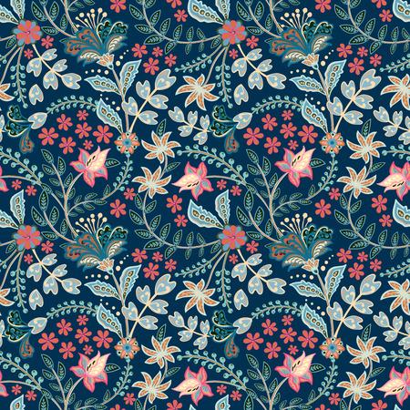 Disegnare a mano retrò motivo floreale in molti tipi di fiori. Motivi botanici sparsi casualmente. Trama vettoriale senza soluzione di continuità. Per stampe di moda. Stampa con stile disegnato a mano su sfondo bianco.