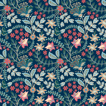 Retro hand draw flower pattern in the many kind of florals. Botanical Motifs scattered random. Seamless vector texture. For fashion prints. Printing with in hand drawn style on white background. Illusztráció