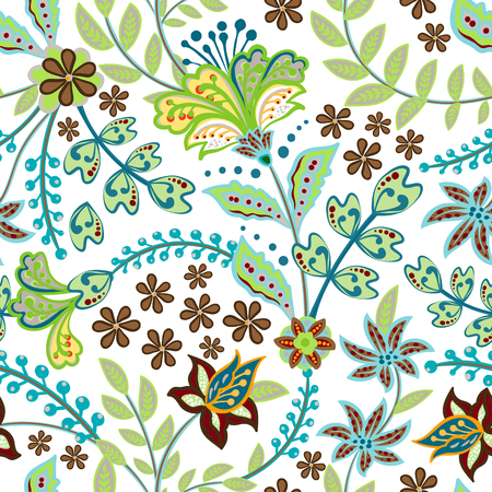Retro hand draw flower pattern in the many kind of florals. Botanical Motifs scattered random. Seamless vector texture. For fashion prints. Printing with in hand drawn style on white background. Standard-Bild - 126833376