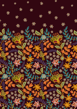 Floral vintage seamless pattern. Retro plants style. Vertical decorative flowers. Vector background