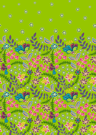 Floral vintage seamless pattern. Retro plants style. Vertical decorative flowers. Vector background Standard-Bild - 126833378