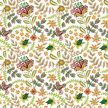 Retro hand draw flower pattern in the many kind of florals. Botanical Motifs scattered random. Seamless vector texture. For fashion prints. Printing with in hand drawn style on white background. Standard-Bild - 126833379
