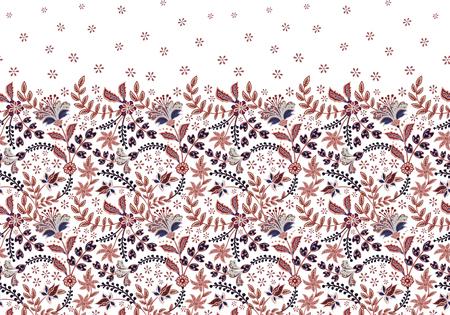 Seamless border with folk flowers. Vector hand draw background Standard-Bild - 126833380