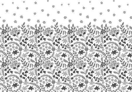 Seamless border with folk flowers. Vector hand draw background Standard-Bild - 126833381