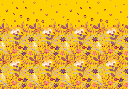 Seamless border with folk flowers. Vector hand draw background