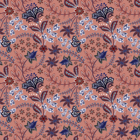 Abstract flowers seamless pattern, floral vector background. Fantasy multicolored flowers in blue tones on a brown-red backdrop. For the design of the fabric, wallpaper, wrapper, prints, decoration Standard-Bild - 126833383