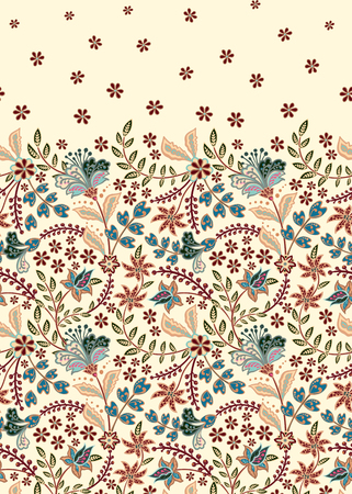 Floral vintage seamless pattern. Retro plants style. Vertical decorative flowers. Vector background Standard-Bild - 126833384