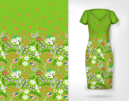Cute pattern in small simple flowers. Seamless background and seamless border on different file layers. An example of the pattern of the dress mock up. Vector illustration. Light green