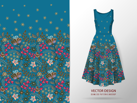 Vertical seamless fashion background. Women's long dress mock up with bright seamless hand drawn pattern for textile, paper print. Isolated dark blue dress. vector Standard-Bild - 126833386