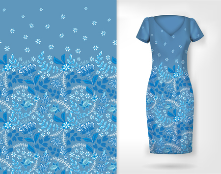 Cute pattern in small simple flowers. Seamless background and seamless border on different file layers. An example of the pattern of the dress mock up. Vector illustration. Blue