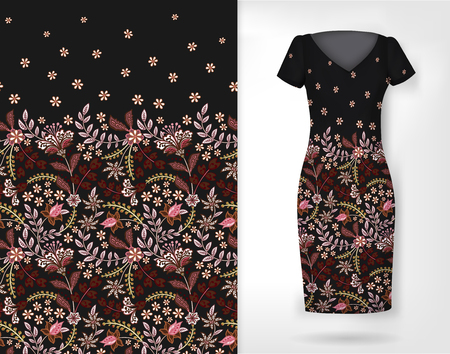 Cute pattern in small simple flowers. Seamless background and seamless border on different file layers. An example of the pattern of the dress mock up. Vector illustration. Black Standard-Bild - 126833388