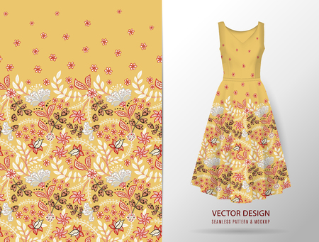 Seamless vertical fantasy flowers border pattern. Hand draw floral background on dress mockup. Vector. Traditional eastern pattern for textiles, wallpapers, decor etc. Yellow Standard-Bild - 126833390