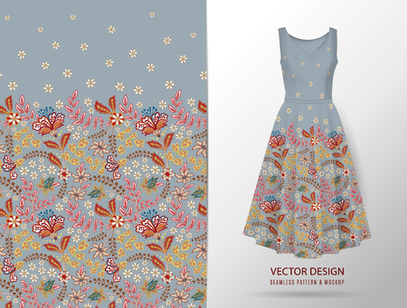 Seamless vertical fantasy flowers border pattern. Hand draw floral background on dress mockup. Vector. Traditional eastern pattern for textiles, wallpapers, decor etc. Gray Standard-Bild - 126833391