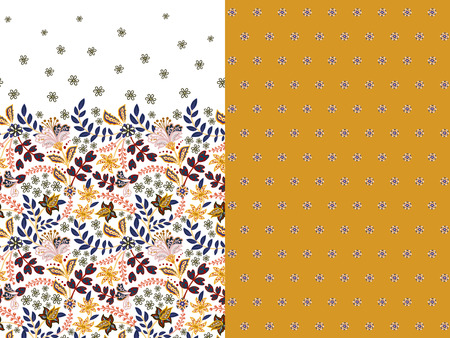 Set of two horizontal seamless floral pattern with paisley and fantasy flowers border. Hand drawn texture for clothes, bedclothes, fabric of the dress etc. Yellow