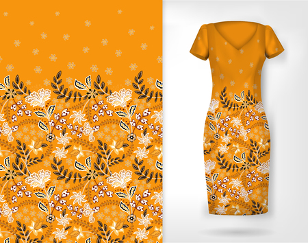 Vertical seamless fashion background. Womens long dress mock up with bright seamless hand drawn pattern for textile, paper print. Isolated orange dress with floral pattern. vector