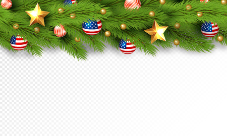 Christmas partiotic illustration. Vector border of Christmas tree branches with golden stars and balls with american flag. Merry christmas and happy new year Illusztráció