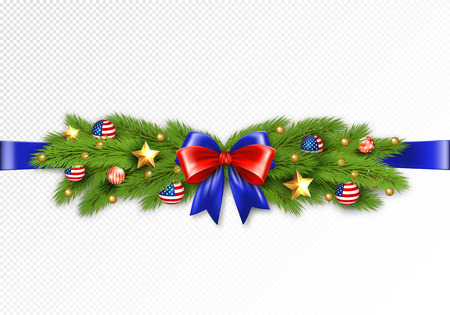 Christmas partiotic illustration. Vector border of Christmas tree branches with golden stars and balls with american flag. Merry christmas and happy new year Standard-Bild - 126833395