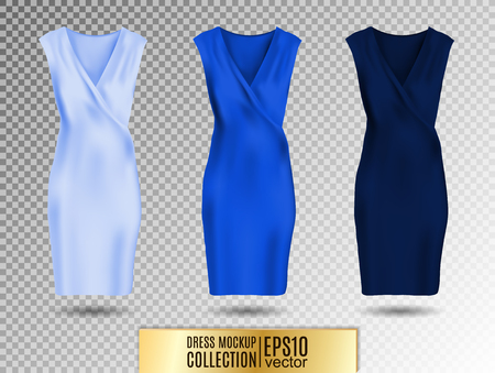 Women's dress mockup collection. Dress with long pleated skirt. Realistic vector illustration. Fully editable handmade mesh. Festive dress without sleeves. Light, bright and dark blue variation. Standard-Bild - 126833396