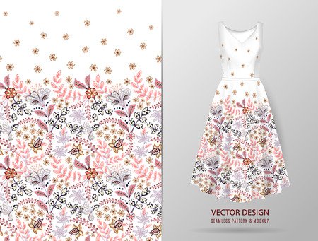 Seamless vertical fantasy flowers border pattern. Hand draw floral background on dress mockup. Vector. Traditional eastern pattern for textiles, wallpapers, decor etc. Gentle colors on white
